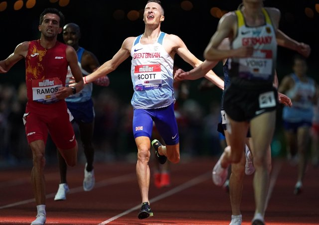 Great Britain's Marc Scott reacts as he crosses the finish line in the Men's International Race A, part of the 2021 Muller British Athletics 10,000m Championships and the European 10,000m Cup at University of Birmingham (Picture: Martin Rickett/PA Wire).