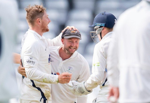 Lethal combination: Yorkshire spinner Dom Bess, left, saw colleague  Adam Lyth take three catches off his bowling to help the White Rose to an inniings and 30-run victory over Sussex. Picture: Allan McKenzie/SWpix.com