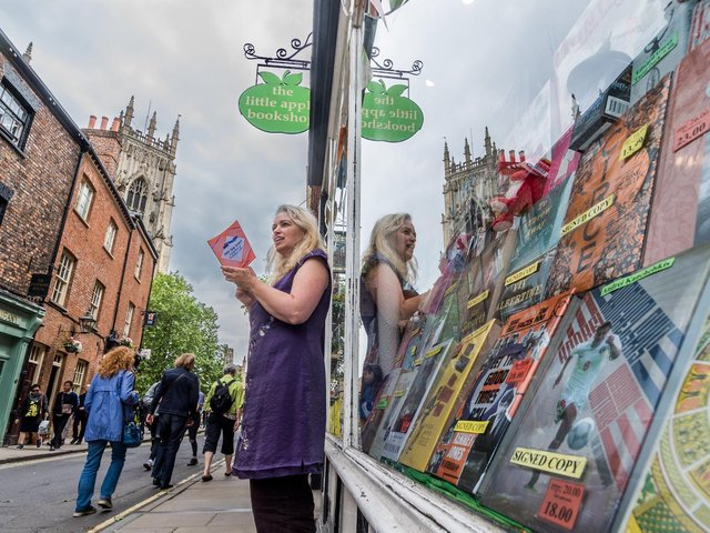 Philippa Morris, co-owner of Little Apple Bookshop, High Petergate, York. Picture: James Hardisty.