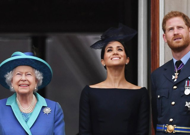 The Queen with the Duke and Duchess of Sussex in 2018.