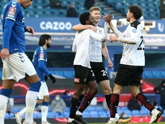 Matt Olosunde (centre) celebrates his goal for Rotherham United in the FA Cup at Everton in January. (Photo by Jan Kruger/Getty Images)