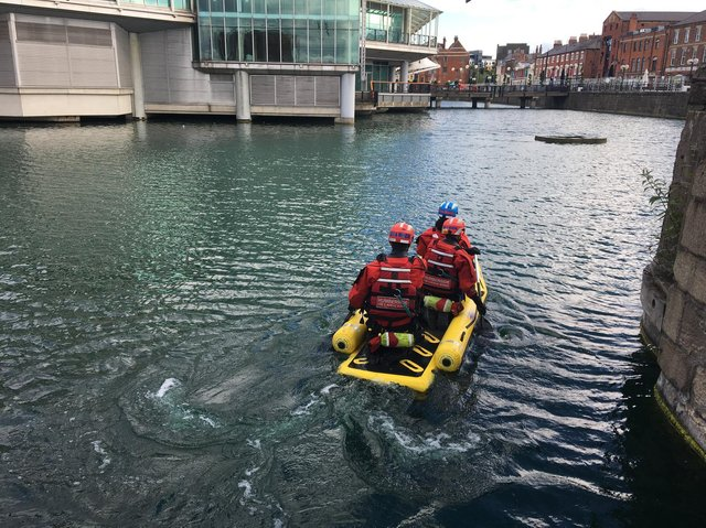 A man had to be rescued after ending up in the water at Princes Quay in Hull over the weekend
