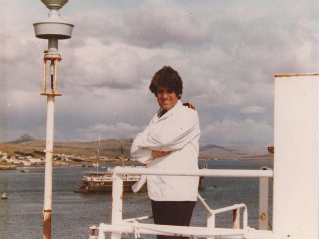 """Roy """"Wendy"""" Gibson on board MV Norland during the Falklands War"""
