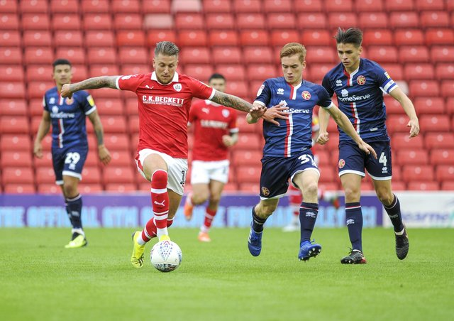 George Moncur playing for Barnsley in 2018. Picture: Scott Merrylees