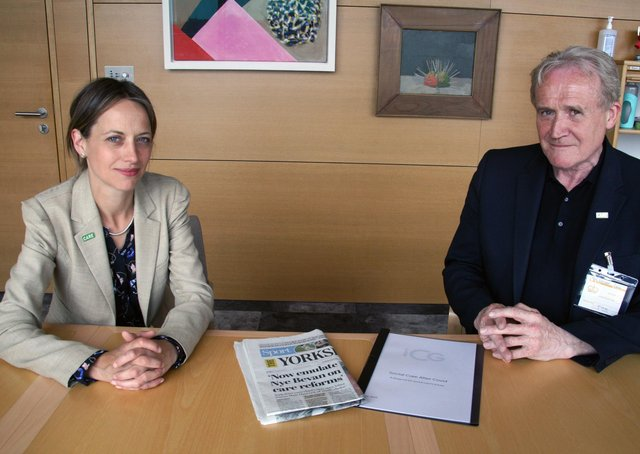 Care Minister Helen Whately with Mike Padgham and a copy of The Yorkshire Post containing an open letter to Matt Hancock.