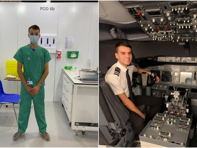 Edgar Woodhead working as a vaccinator and in his previous work as a pilot. Picture: Aviation Job Search