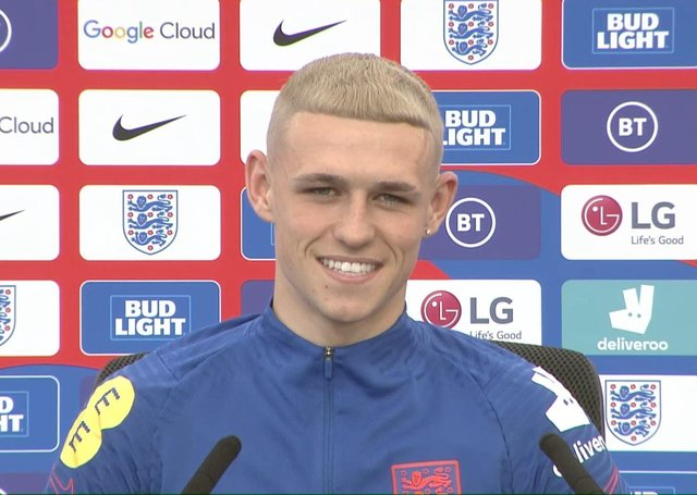 England's new-look Phil Foden talking to the media on Tuesday. Picture: PA
