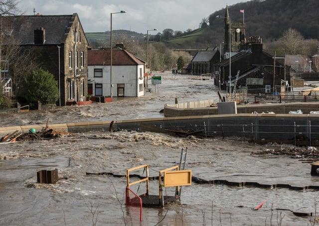 Flooding in Mytholmroyd as Storm Ciara struck in February 2020.