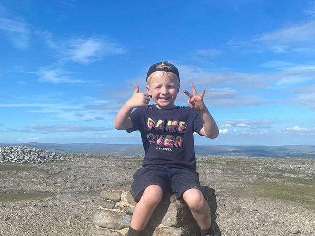 Jaxon Krzysik scaled the Yorkshire Three Peaks on Saturday, June 5 (Credit: SWNS)