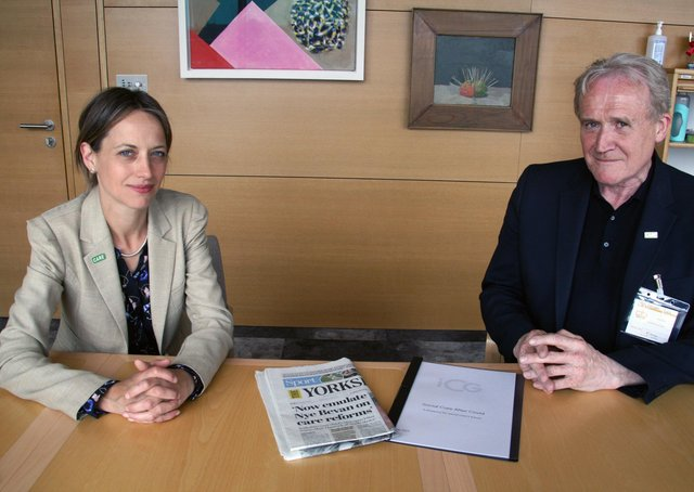 Care Minister Helen Whately wqith North Yorkshire care home boss Mike Padgham and a copy of Monday's edition of The Yorkshire Post.