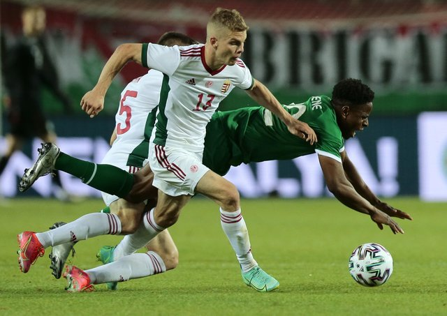 Republic of Ireland's Chiedozie Ogbene (right) and Hungary's Andras Schafer (centre) and Janos Hahn battle for the ball in their friendly match.