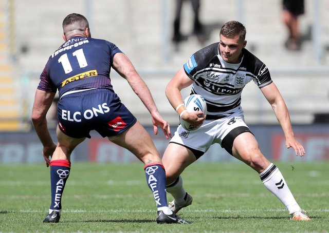Hull FC's Cameron Scott (right) and St Helens' Joel Thompson during the Betfred Challenge Cup semi-final match at the Leigh Sports Village last Saturday. Picture: Richard Sellers/PA Wire.