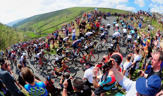 Tour de Yorkshire 2018: The peloton heads up Cote de Park Rash, Kettlewell. Picture by Simon Hulme