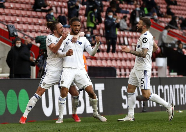STICKING AROUND: Leeds United's Tyler Roberts (centre) celebrates scoring at Southampton. Picture: Frank Augstein/PA