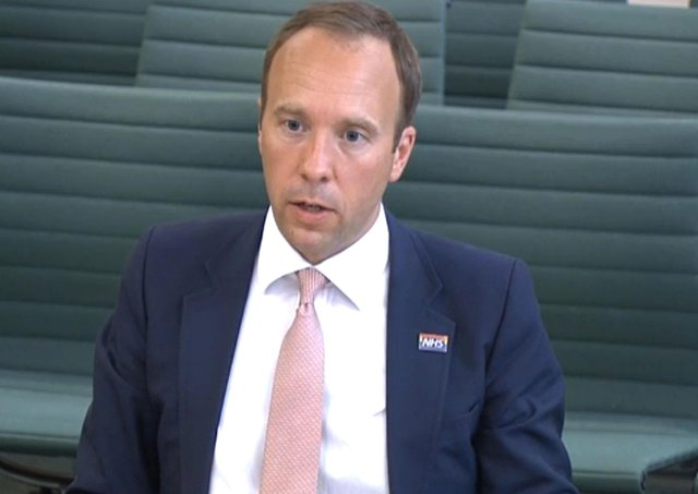 Screen grab of Health Secretary Matt Hancock giving evidence to the Science and Technology Committee and Health and Social Care Committee where he answered questions over allegations Dominic Cummings previously made before the Health and Social Care Committee and Science and Technology Committee.