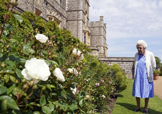 Queen Elizabeth II views a border in the gardens of Windsor Castle, in Berkshire, where she received a Duke of Edinburgh rose, given to her by the Royal Horticultural Society. The newly bred deep pink commemorative rose from Harkness Roses has officially been named in memory of the Duke of Edinburgh. A royalty from the sale of each rose will go to The Duke of Edinburgh's Award Living Legacy Fund which will give more young people the opportunity to take part in the Duke of Edinburgh Award.
