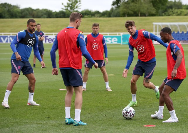 Left to right, England's Kyle Walker, Jordan Henderson, Kieran Trippier, John Stones and Raheem Sterling during the training session at St George's Park. Photo: Nick Potts/PA Wire.