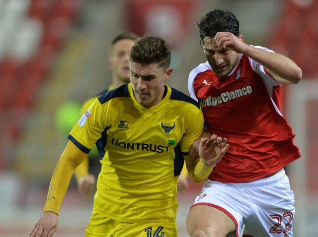 TERRIER: Joe Ruffels in action for Oxford United