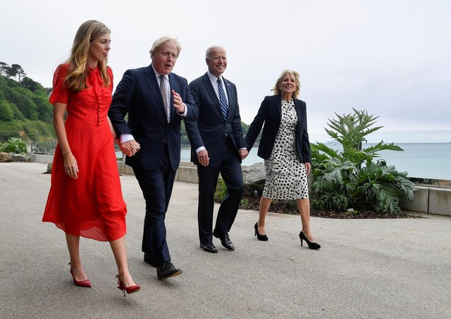 First Lady Jill Biden, US President Joe Biden, Prime Minister Boris Johnson and Carrie Johnson walk outside Carbis Bay Hotel, Carbis Bay, Cornwall, ahead of the G7 summit in Cornwall.