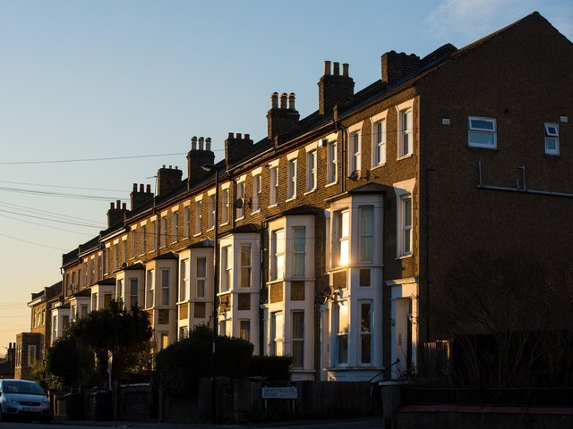 A row of terraced residential houses.