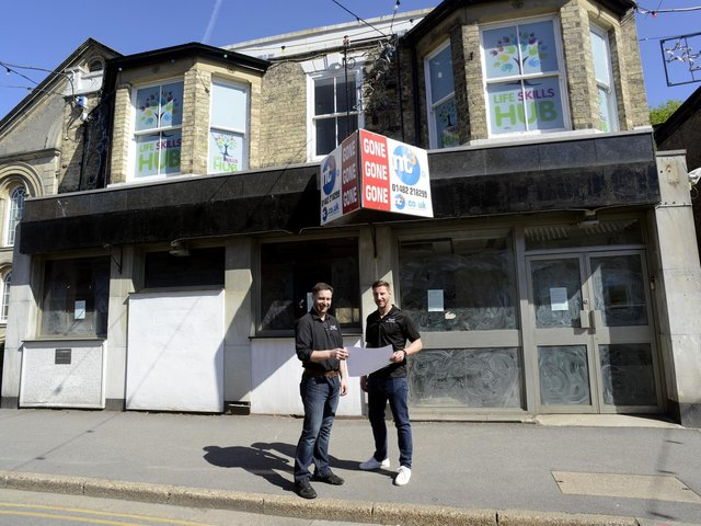Simon Leahy (left) and Chris Leahy outside the former NatWest bank in Cottingham which they plan to convert into Raph's Bar and Grill.