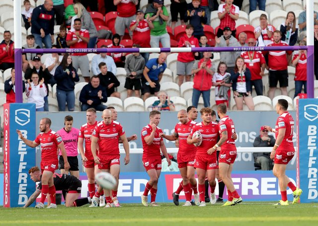 Hull Kingston Rovers' George Lawler (third right) celebrates after scoring his side's first try. Picture: PA