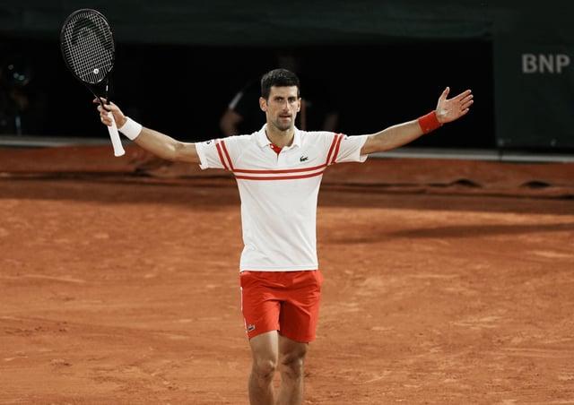 TOP MAN: Novak Djokovic celebrates as he defeats Spain's Rafael Nadal. Picture: AP/Thibault Camus