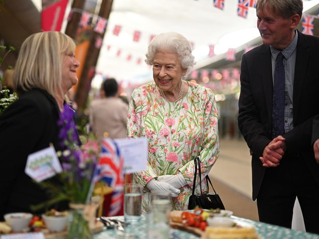 Queen Elizabeth II smiles as she meets people from communities across Cornwall as she attend an event at the Eden Project in celebration of The Big Lunch initiative, during the G7 summit in Cornwall.