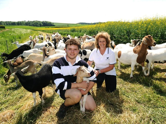 George and Sally Hurren with their goats.