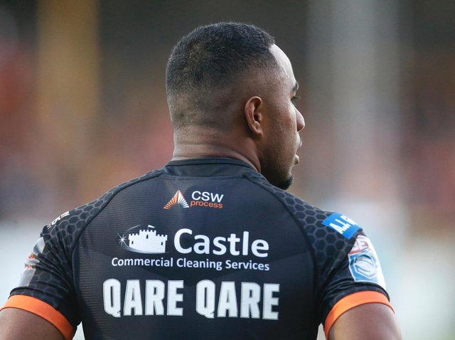 DEBUT TRY: Castleford Tigers' Jason Qareqare scored 45 seconds into his professional debut. Picture: Ed Sykes/SWpix.com