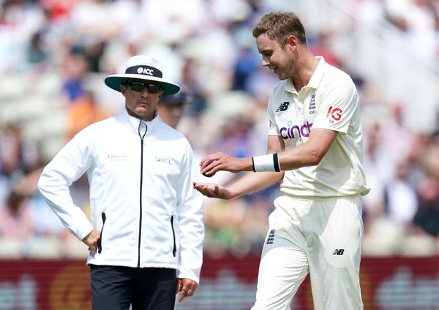 FRUSTRATION: England's Stuart Broad (right) speaks to the umpires after New Zealand's Devon Conway is given not out during day two at Edgbaston. Picture: Mike Egerton/PA