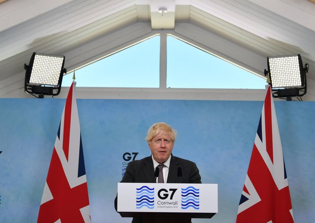 Boris Johnson at a press conference at the conclusion of the G7 summit.