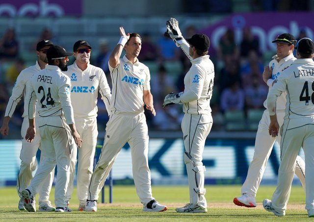 Gone: New Zealand's Trent Boult celebrates taking the wicket of England's Stuart Broad during day three.