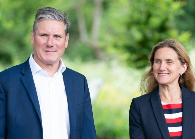 Kim Leadbeater, Labour's candidate in the Batley and Spen by-election, with party leader Sir Keir Starmer.