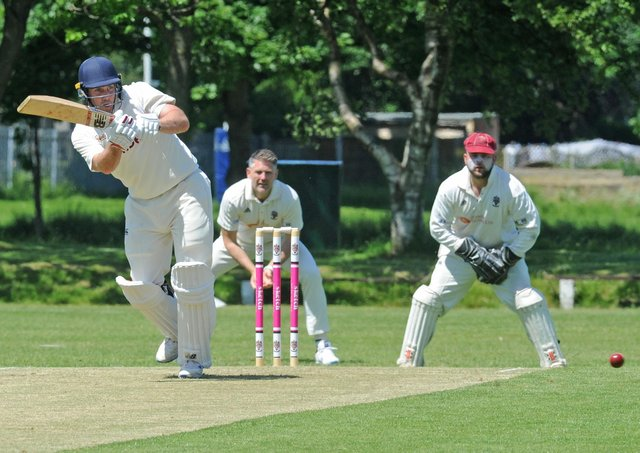 Star: Woodlands opener Sam Frankland, who scored 128 in the Bradford League win at Morley. Pictures: Steve Riding