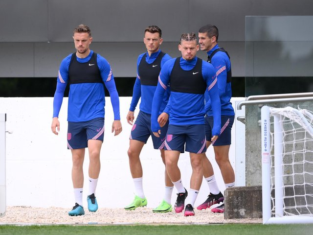 SET TO START: Leeds United's England international midfielder Kalvin Phillips, second right. Photo by Laurence Griffiths/Getty Images.