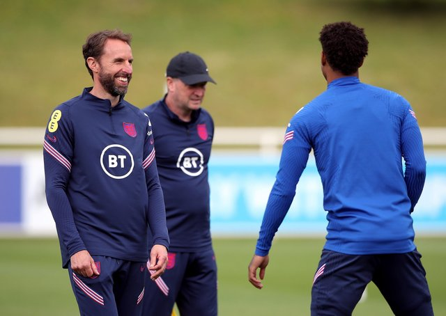 Gareth Southgate: England manager was in relaxed mood at training yesterday. (Picture: PA)