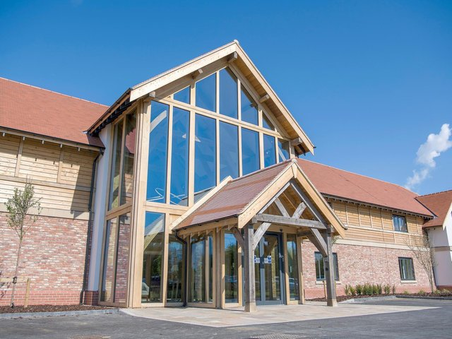The Sandburn Hall Hotel at Flaxton, near York, with triple height, green oak framed entrance, inspired by an episode of Grand Designs