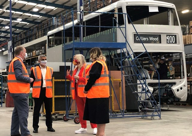 Mayor of London Sadiq Khan (second left) and the mayor of West Yorkshire Tracy Brabin (second right) during a visit Switch Mobility, an electric bus factory in Sherburn in Elmet.
