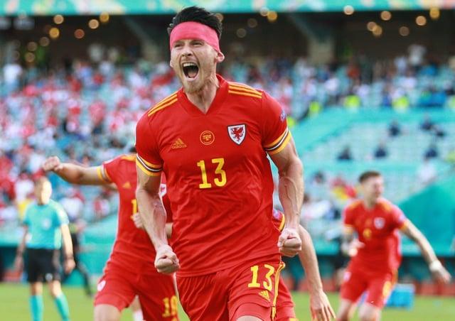 Wales' Kieffer Moore celebrates scoring his Euro 2020 goal against Switzerland.