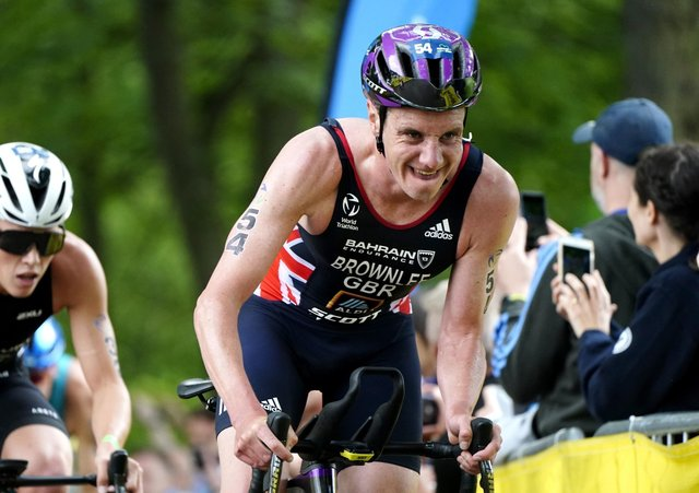 Great Britain's Alistair Brownlee in action during The AJ Bell 2021 World Triathlon Championship Series Mens Race last week (Picture: Martin Rickett/PA Wire)