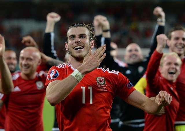 Wales' Gareth Bale celebrating after beating Belgium in the UEFA Euro 2016, quarter final match. Photo: Joe Giddens/PA Wire.