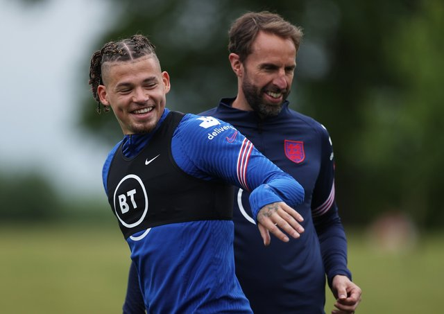Young Lion: Leeds United's Kalvin Phillips and Gareth Southgate. Picture: Getty Images