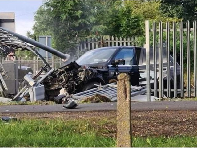 The wrecked Range Rover following the collision