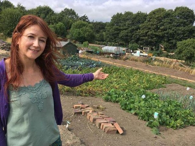 Debby Fulgoni, who is campaigning to save allotments in Huddersfield from being used as land for school playing fields.