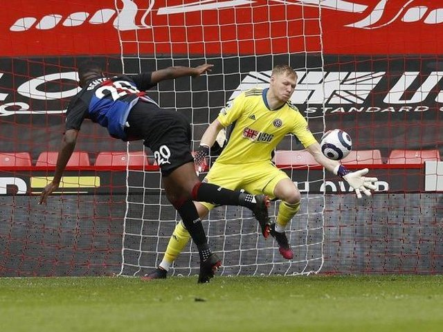 Sheffield United's Aaron Ramsdale saves from Christian Benteke of Crystal Palace. Pictures: Darren Staples / Sportimage