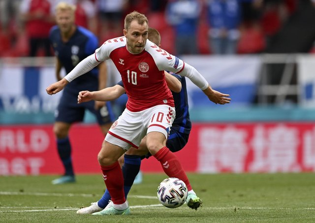Denmark's Christian Eriksen: Recovering after collapsing in Euro 2020 encounter against Finland.