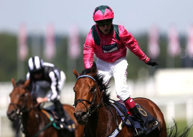 Oxted ridden by jockey Cieren Fallon celebrates winning the King's Stand Stakes during day one of Royal Ascot at Ascot Racecourse.