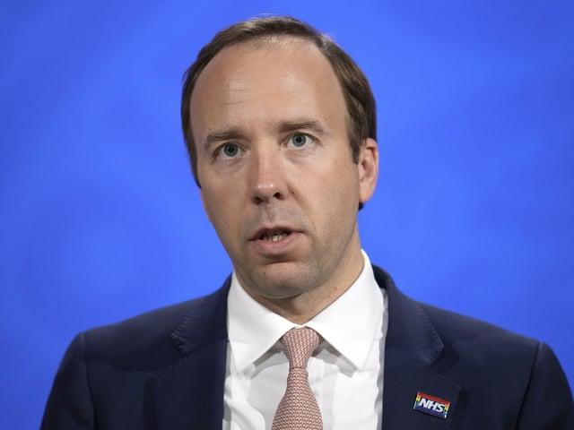 Matt Hancock during a media briefing in London