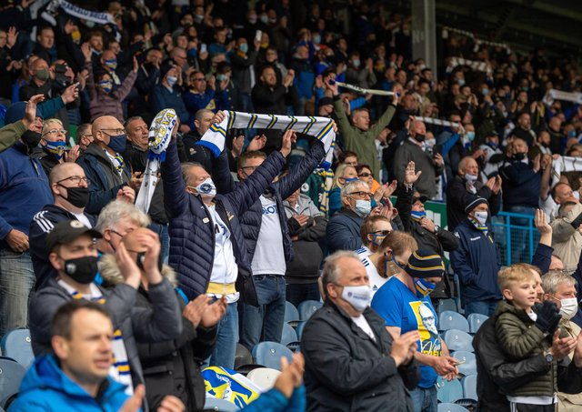 We're back: Leeds United fans back inside Elland Road for the game against West Bromwich Albion.  Picture: Bruce Rollinson